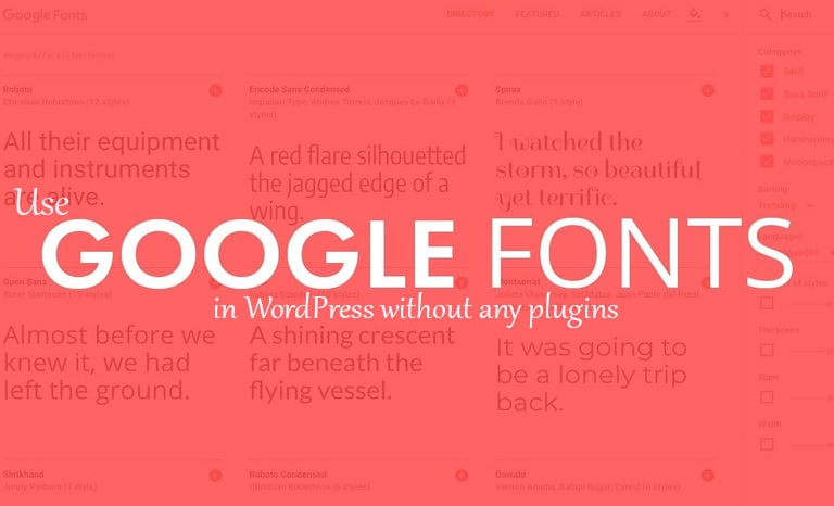Use Google Fonts in WordPress without any plugins